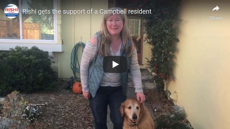 Rishi gets the support of a Campbell resident